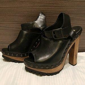 ZARA studded leather clogs wood platform sandals